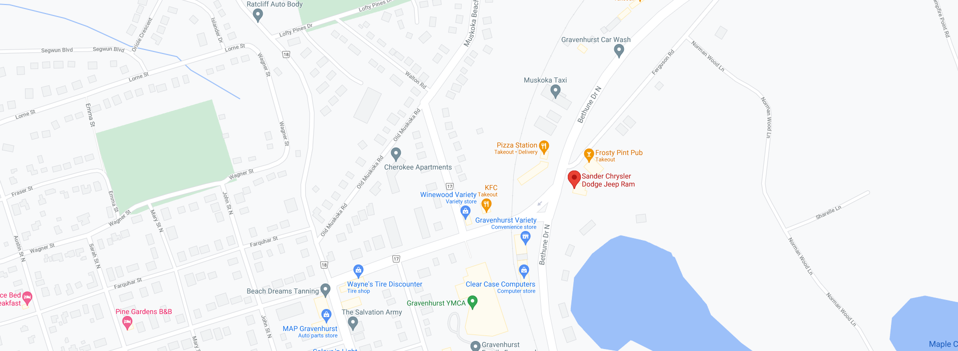 Sander Chrysler Location Map
