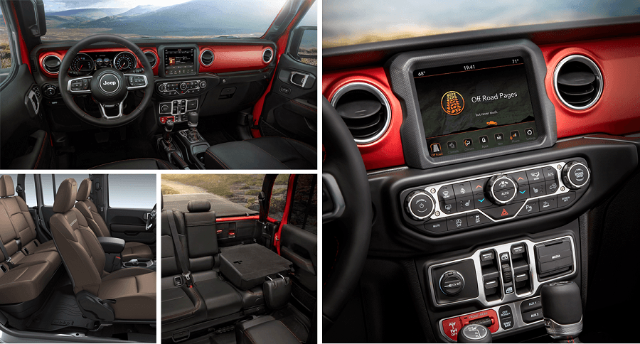 2020 Jeep Gladiator Interior features such as infotainment panel and seating and cargo