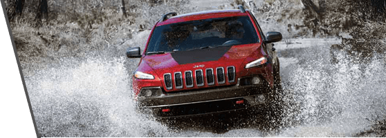 Red Jeep Cherokee near Vancouver