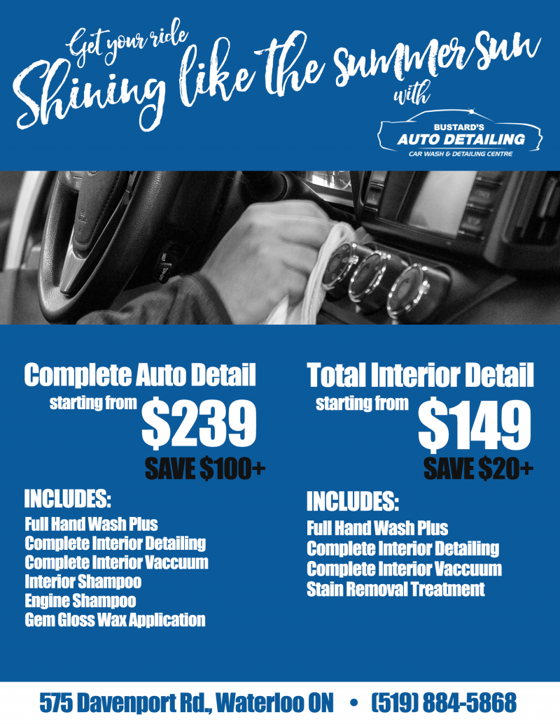 Get your ride ready for summer with Bustard's Auto Detailing