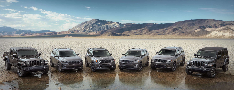 Six camions et VUS Jeep gris garés devant un grand trou d'eau avec les montagnes situées en arrière-plan