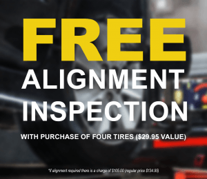 FREE alignment inspection with purchase of four tires