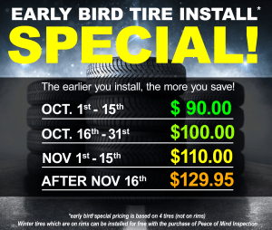 Early Bird Tire Install Special!
