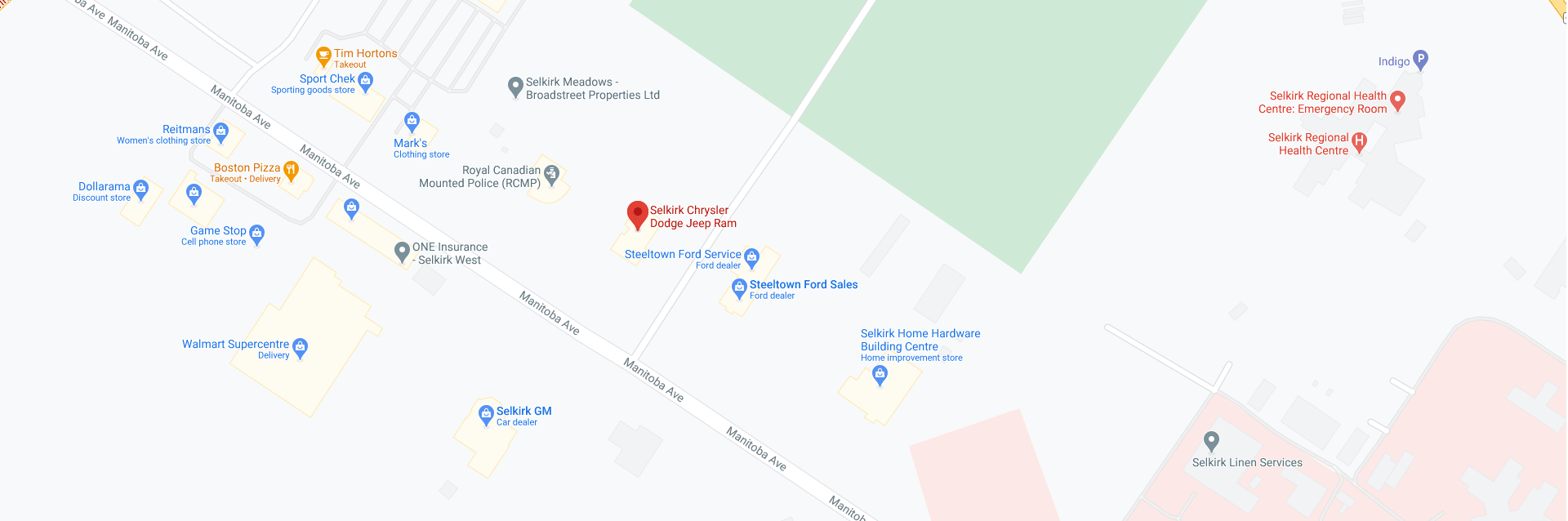Selkirk Chrysler Location Map